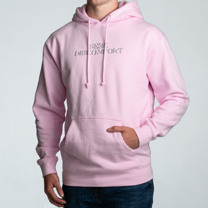 Seek Discomfort Embroidered Hoodie (Baby Pink)