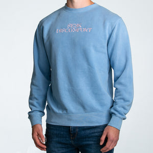Seek Discomfort Embroidered Crewneck Sweatshirt (Pigment Blue)