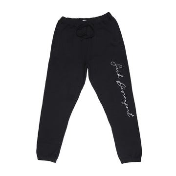 Black / White Cursive Fleece Sweatpants