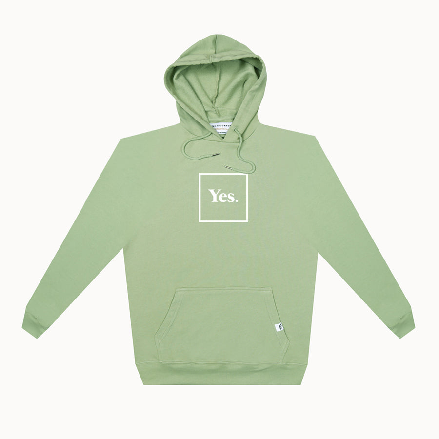 Olive Green / White Yes Logo French Terry Hoodie