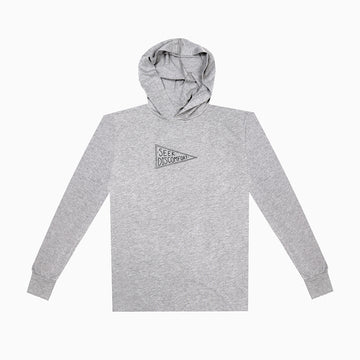Heather Gray / Black Seekers Flag Lightweight Pullover Hoodie