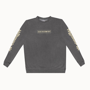 Faded Black / Tan Checkers Crew Neck Sweatshirt