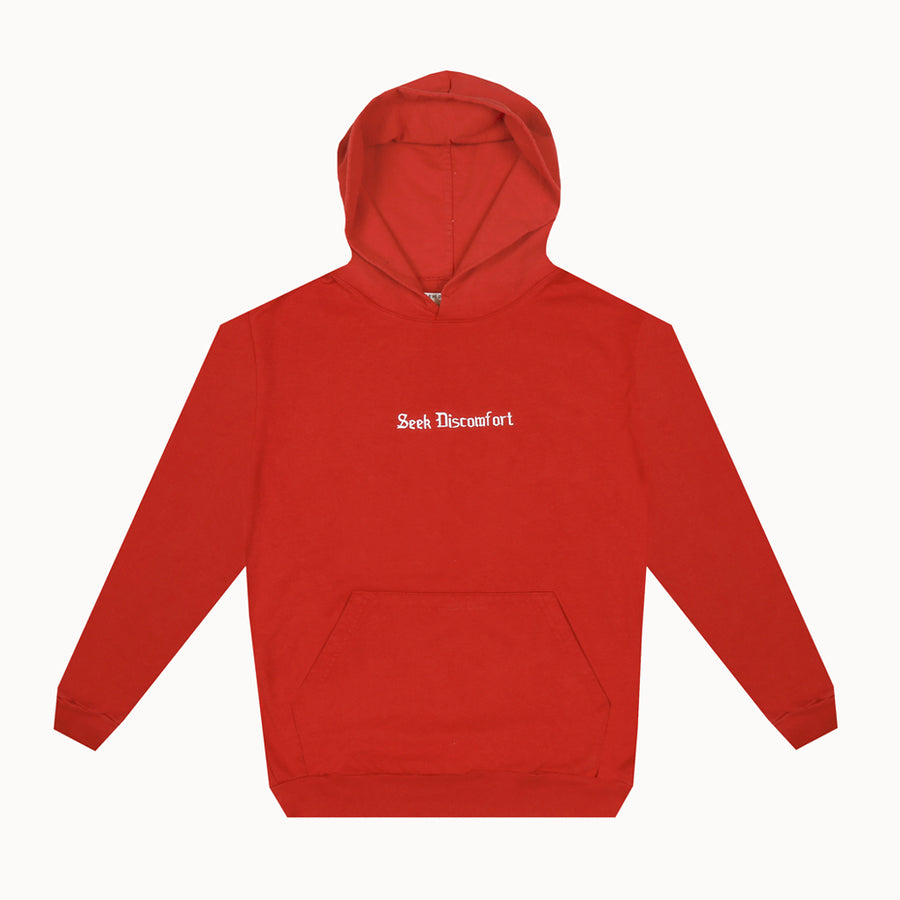 Red Drop Shoulder French Terry Hoodie