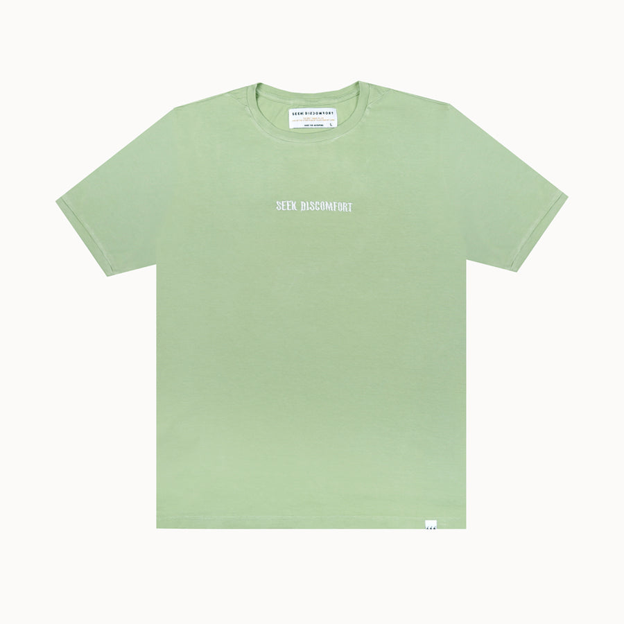 Olive Green / White Embroidered Short Sleeve Staple Tee
