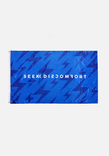 Seek Discomfort Blue Bolts Flag