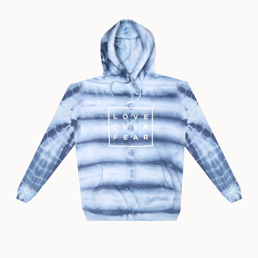 Blue Tie Dye / White Love Over Fear Hoodie