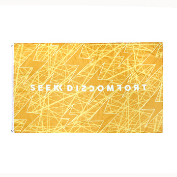 Seek Discomfort Gold Bolts Flag