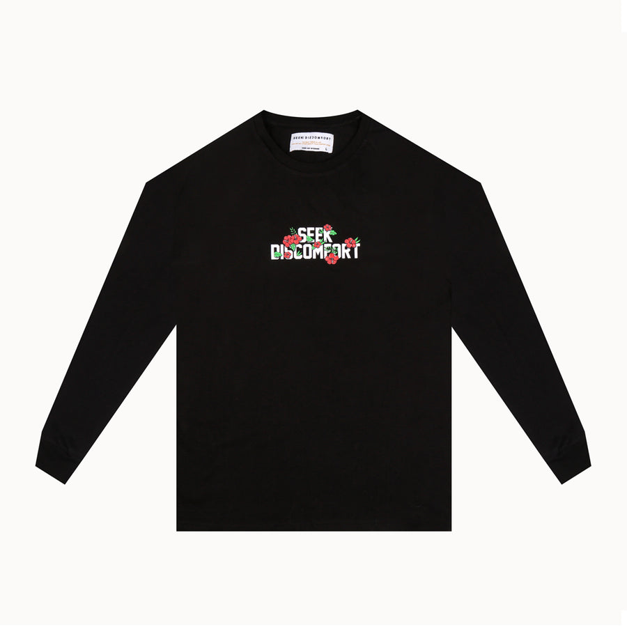 Black / Red Roses Long Sleeve Staple Tee