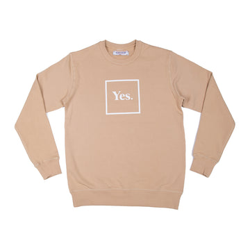 Tan / White Yes Logo Crew Neck Sweatshirt