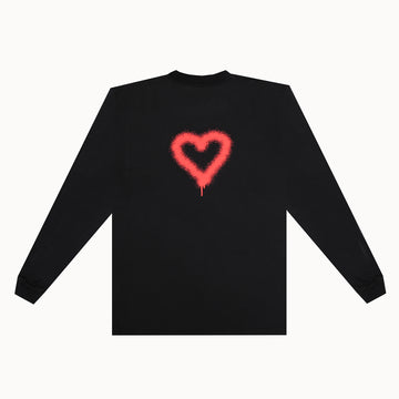 Black / Red Heart Heavy Weight LS Tee