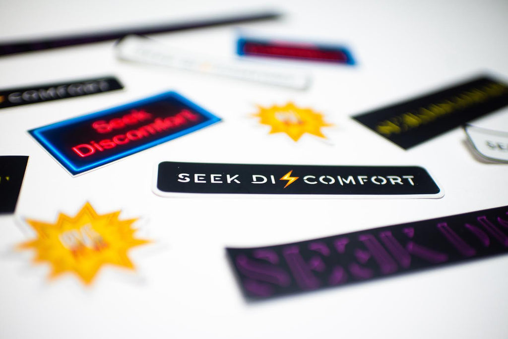 Seek Discomfort Edgy Sticker (Black/Yellow)