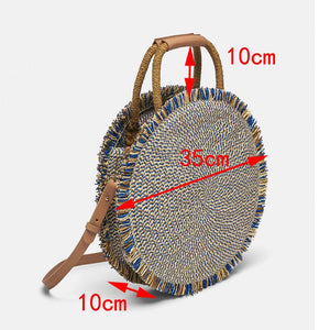 Round Blue & Brown Straw Handbag