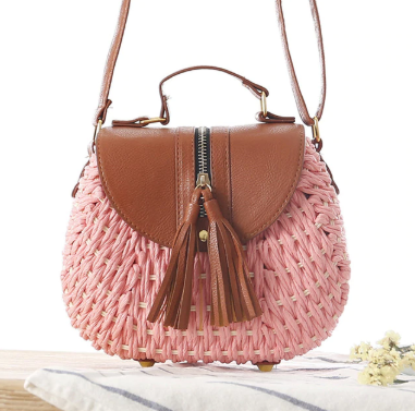 Tassel Straw Bag- Pink Handbag