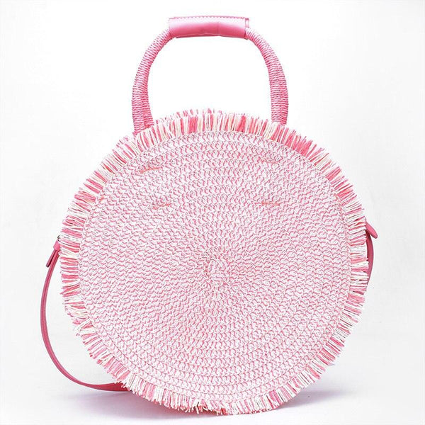 Pink/White Woven Bag
