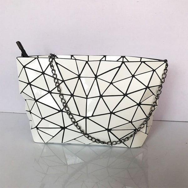 Geometric Messenger Handbag White