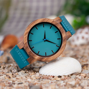 Turquoise Wood Leather Watch