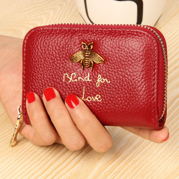 Bee Charm Card Holder Wallet Red