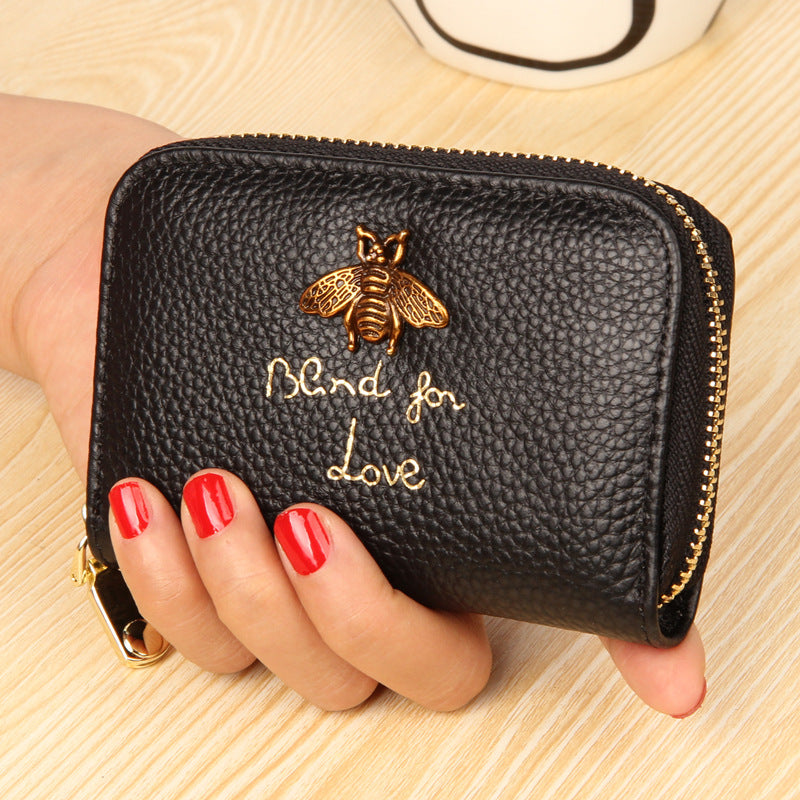 Bee Charm Card Holder Wallet Black