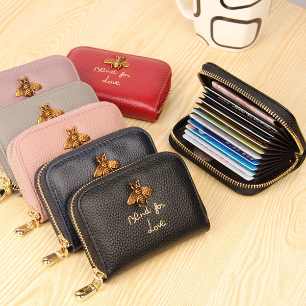 Bee Charm Card Holder Wallet