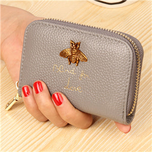 Bee Charm Card Holder Wallet Grey