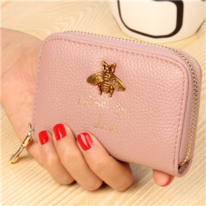 Bee Charm Card Holder Wallet Pink