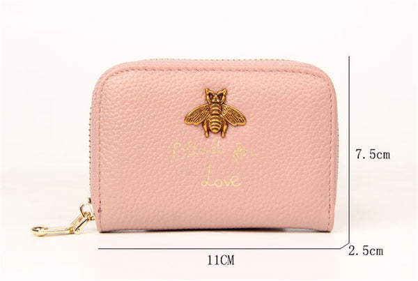 Bee Charm Card Holder Wallet Size