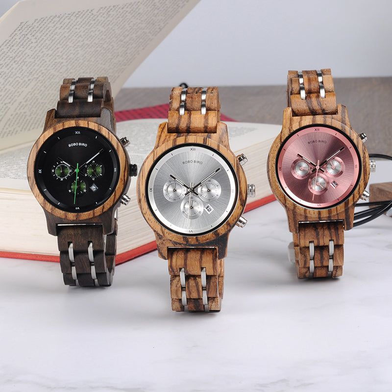 Steel Vogue Wood Watch- Colors Available
