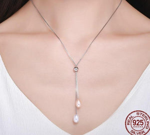 Glittering Long Chain Pendant Necklace