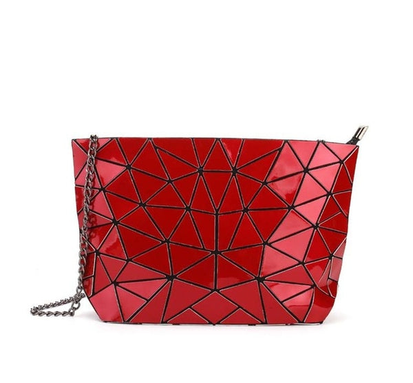 Geometric Messenger Handbag Red