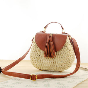 Tassel Straw Bag-Beige Handbag