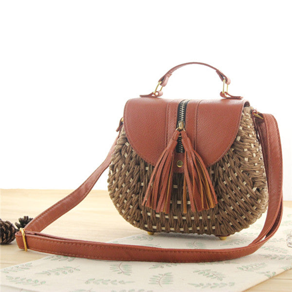 Tassel Straw Bag- Deep Brown Handbag