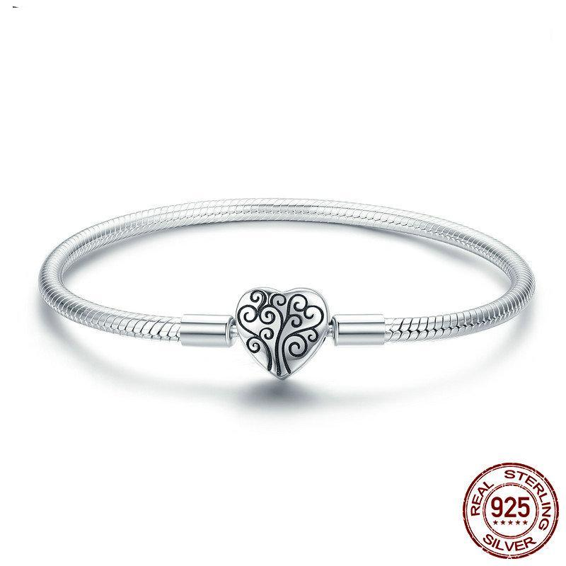 Tree of Life Heart Clasp Snake Bracelet