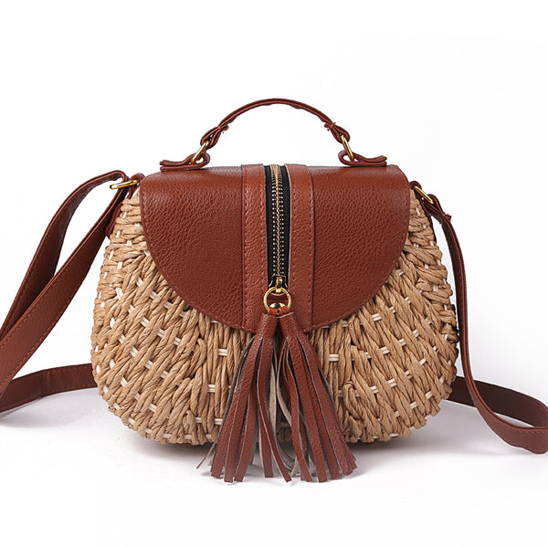 Tassel Straw Bag- Brown Handbag