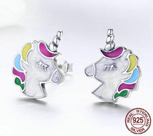White Unicorn Earrings