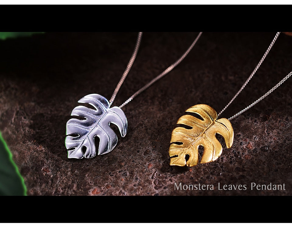 Monstera Leaves Pendant Necklace