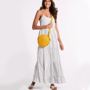 Yellow Straw Tote Look
