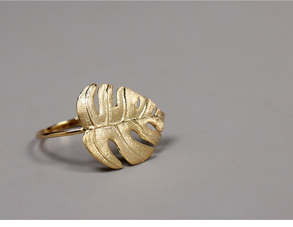 Monstera Leaves Adjustable Rings