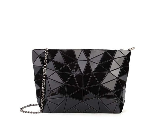 Geometric Messenger Handbag Black