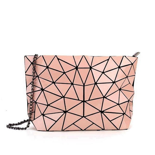 Geometric Messenger Handbag Pink
