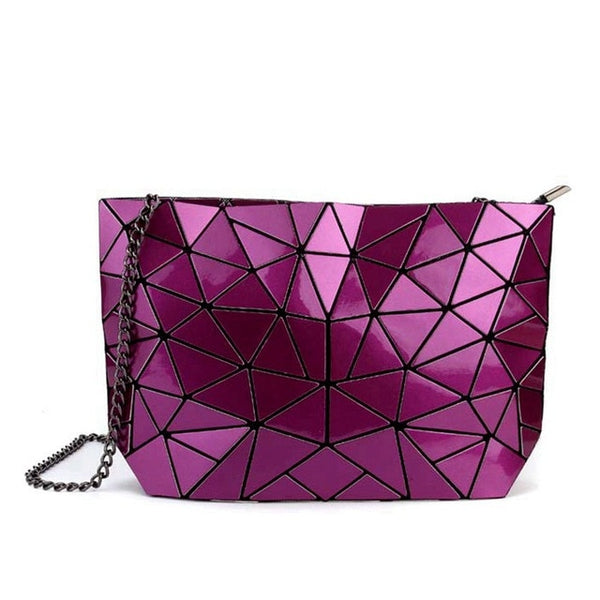 Geometric Messenger Handbag Purple