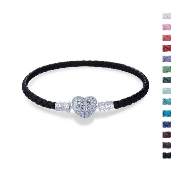 Two Layers Straps Leather bracelet with Heart Shaped Lock
