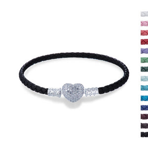 Three Layers Leather Bracelet with Heart Shaped Lock