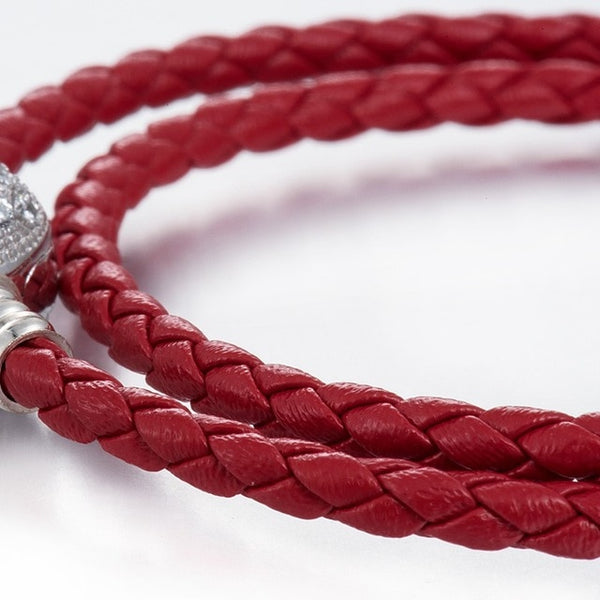 Single Layer Leather Bracelet with Heart Shaped Lock- Colors Available