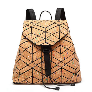 Geometric Cork Backpack Colored Lines
