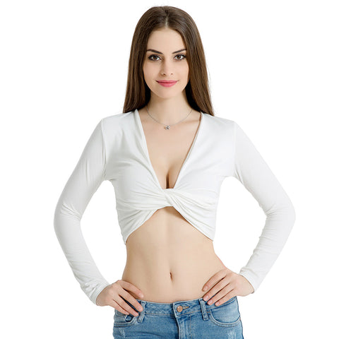 Deep v neck bow t-shirt cross bandage shirts