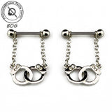 Pair Nipple Piercing Rings Handcuffs/Gun Dangle JewelryNipple Ring - Awoken Women