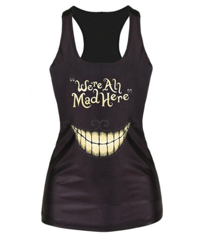 """We're All Mad Here"" Black Camisole Casual Tank Top"