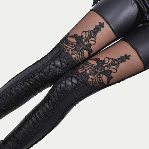 Punk Black faux leather gothic lace Leggings bandage WomenLeggings - Awoken Women