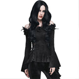 Gothic Women Lace Victorian Blouse Flare Sleeve Steampunk Shirt - Awoken Women