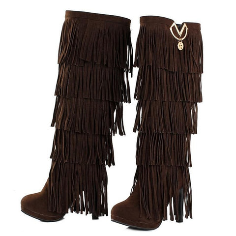Fur Women boots High heels Knee boots  TasselsKnee High Boots - Awoken Women